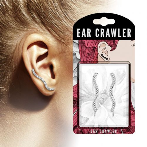 Pair of Clear CZ Gem Paved Wave Ear Crawlers